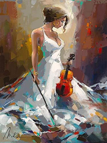 Diamant-schilderij 5D knutselen volledige diamant schoonheid viool 30 x 40 cm borduurwerk strass schilderij kruissteek wandset kunst decoratie