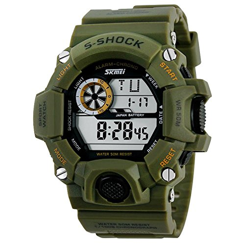 SKMEI Mens Military Digital Outdoor Electronic Water Resistant LED Sport Watch with Multifunctional - Army Green