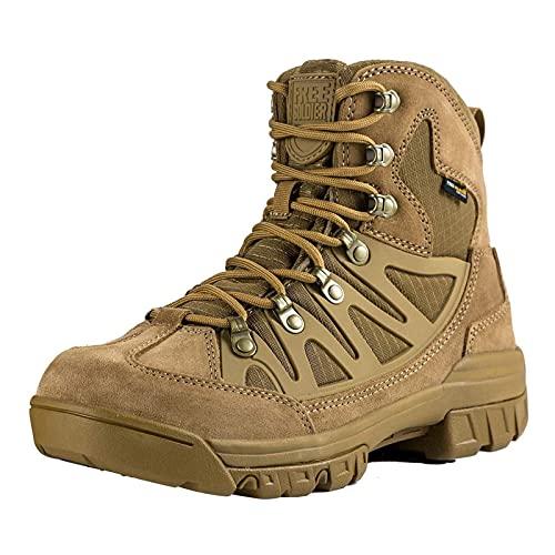 FREE SOLDIER Botas tácticas de Tiro Medio Alto Zapatos de Trekking de Invierno Botas de Cuero, Hombre(Lobo Marrón,42 EU)