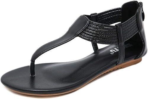 L-X Boho Sandals Eté T-Strap Mode été Marche Marche à Cheveux Sangle Cheville Sangle Grande Taille Confortable Chaussures Romaines, Noir, 40 UE  pour vous offrir un shopping en ligne agréable