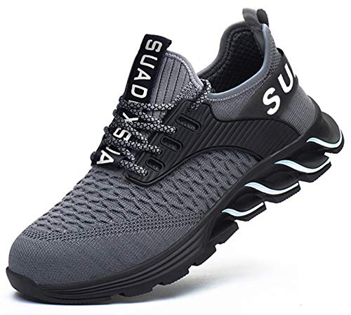 SUADEX 安全靴作業靴 おしゃれ あんぜん靴 作業 グレー 工事現場 靴 スニ一カ一 通気性 鋼先芯 耐摩耗 防刺 耐滑ソール アウトドア スニーカー ワーク シューズ セーフティーシューズ