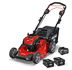 Self propelled transmission with variable speed Up to 45 minutes run time with the Briggs & Stratton 82V Lithium ion 2.0Ah battery kit comes with (2) 2Ah Lithium ion batteries and rapid charger 21 inches steel mowing deck with 3 in 1 design mulch, ba...