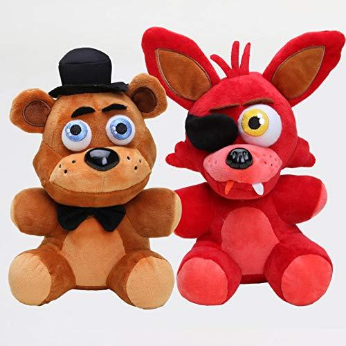 LANZZ 2 Unids / Set Five Nights At Freddy'S 4 FNAF FreddyFazbearBear Foxy Wolf Juguetes De Peluche Muñeca Figura Juguetes 18Cm, Muñeco De Peluche Suave Regalo para Niños