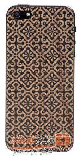 Lazerwood 22400 - Cover in Legno per Apple iPhone 5/5S incl. Pellicola Protettiva per Display, Motivo: Clementine, Colore: Nero