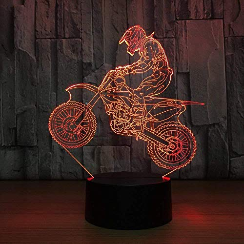 Desk Decorations Gaming Lights Motrocross Touch Tafel Lamp 7 Kleuren Veranderende Bureau Lamp 3D Lamp Novelty Led Nachtlampjes Led Licht Kamer Lamp met Afstandsbediening