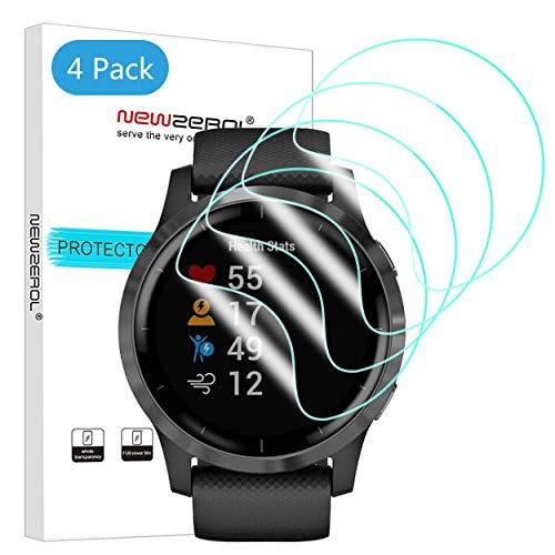 NEWZEROL 4 Stücke Kompatibel für Garmin Vivoactive 4 Bildschirmschutzfolie TPU Hochauflösende, Kratzfeste Anti-Fingerabdruck-Schutzfolie für Garmin Vivoactive 4