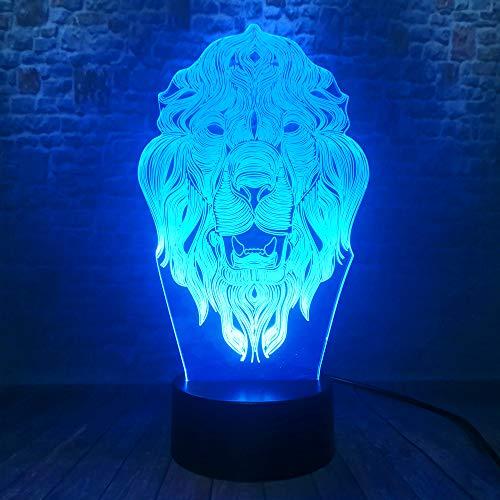 Animal Lion Face 3D 7 Changement De Couleur Nuit Lumière Chambre à Coucher Lampe Enfant Enfants Garçons Homme Famille Cadeaux De Noël