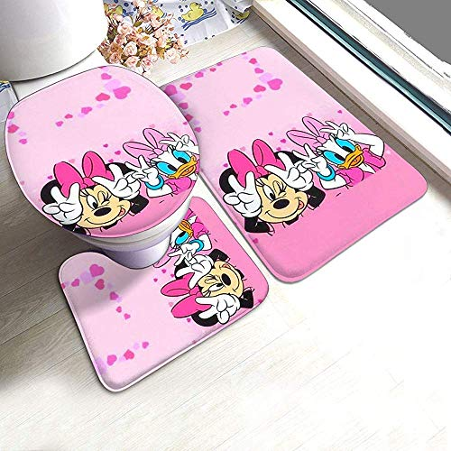 Balance-Life Min-nie and Daisy Duck - Juego de alfombras de baño, 3 Piezas, Alfombrilla de baño Antideslizante + Alfombra con Contorno en Forma de U + Tapa de Inodoro