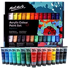 Mont Marte acrylic paint set contains 24 bright colors: this set comes with 24 vibrant colors in convenient 36ml tubes, suitable for most art and art techniques. Great lightfastness and gloss finish: these acrylics will glide smoothly onto canvas, pa...