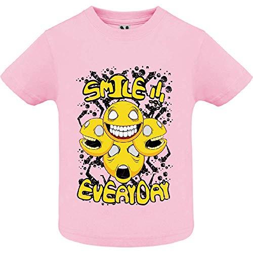 LookMyKase T-Shirt - Smile Everyday - Bébé Fille - Rose - 2ans