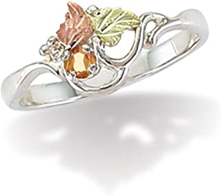 Sterling Silver Black Hills November Birthstone Ring with 3 MM Round Synthetic Gold Topaz