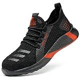Aingrirn Sicherheitsschuhe Herren Damen Arbeitsschuhe mit Stahlkappe Atmungsaktiv Schutzschuhe Leicht Sneaker (Color : Red, Size : 35 EU)
