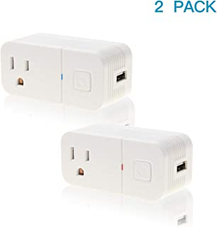 FRANKEVER Smart Plug Wifi Outlet with 1 USB Port Charger, mini Smart Socket,Compatible with Alexa, Google Home, IFTTT,No Hub Required,App Remote Control,Voice Control(2 Pack)