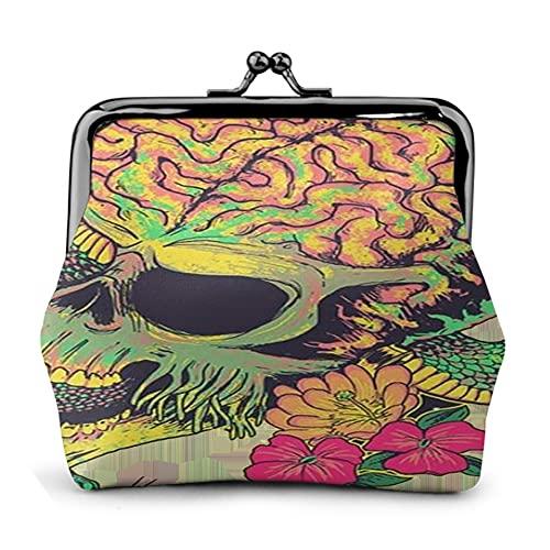 Monedero de piel con diseño de calavera serpent 25 monedero pequeño con cierre de hebilla para mujeres y niñas