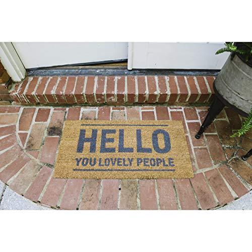 Bloomingville Fußmatte aus Kokosfaser, Motiv: Hello You Lovely People, Natur