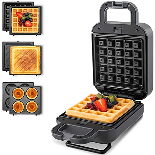 Waffle Maker Mini, Sandwich Maker with Removable...