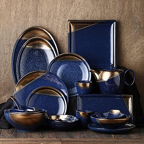 CCAN Vajilla, Vajilla de cerámica, Vajilla de Estilo japonés de Oro Juego de 39 |Juego de Cuencos de Porcelana para Cereales y Platos para Carne para reuniones Familiares Interesting Life