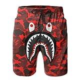 Mens Anime Bape Shark Customized Graphic Swim Trunks Beach Party...