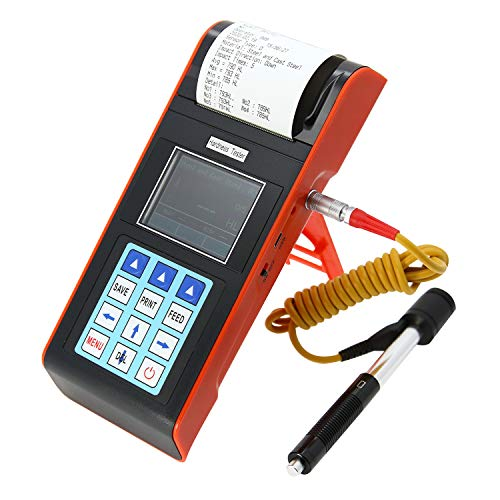 AMTAST Digital Handheld Leeb Hardness Tester Portable Built-in Printer Durometer with Standard D Impact Device PC Software for Steel Aluminum Iron Alloy Copper