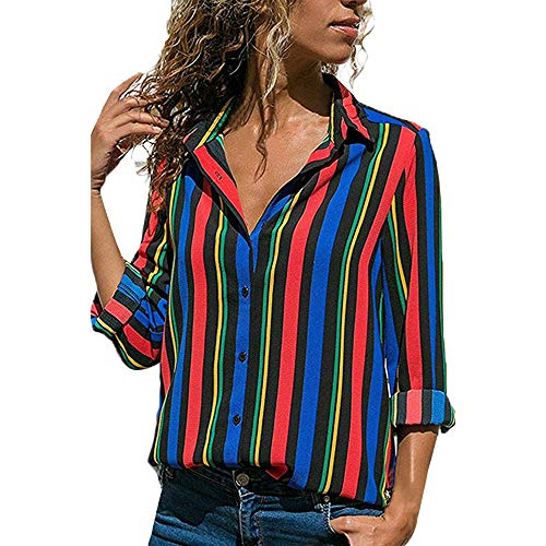 MRULIC Damen Shirt Tie-Bow Neck Striped Langarm Spleiß Bluse Gestreift Damen Tragen(T1-Blau,EU-40/CN-L)