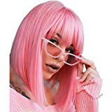 AISI BEAUTY Pink Bob Wigs with Bangs 12'' Short Straight Bob Wigs Colorful Synthetic Cosplay Daily Party Wig for Women