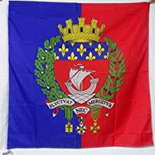 AZ FLAG City of Paris Coat of arms Flag 3' x 3' for a Pole - Paris with arms Flags 90 x 90 cm - Banner 3x3 ft with Hole