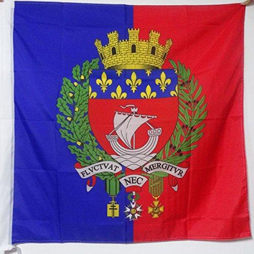 AZ FLAG Flagge Paris MIT Waffen 90x90cm - Paris Fahne 90 x 90 cm Scheide für Mast - flaggen Top Qualität