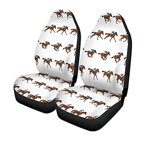 Set van 2 stoelhoezen voor autostoelen, Jockey paard, Galop, Silhouet Derby paard