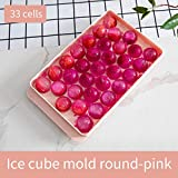 SHIER Bandejas para Hielo DIY Ice Cube Mold Artifact Refrigerator Ice Tray Frozen Ice Cube Box Ice Box Mold Round Kitchen Iced Beverage Drink Tool,33 Cells Pink