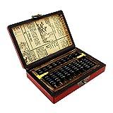calculadoras 9 columnas Vintage Chino Cuentas de Madera ábaco aritmético con Caja Calculadora Antigua Regalo Coleccionable con Manual en inglés Calculadora de Negocios