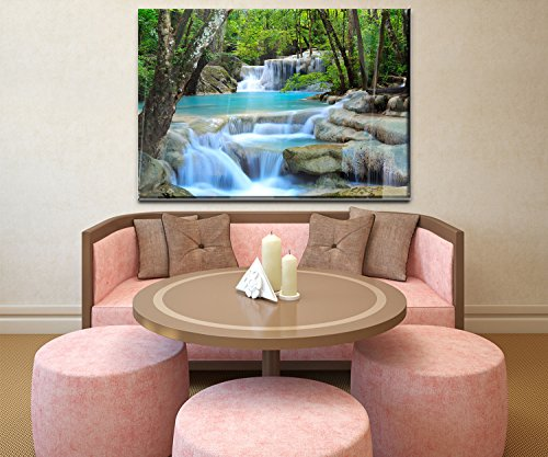 wandmotiv24 Wandbild Wasserfall im Wald Acrylglas - L - 100x70cm (BxH) Foto-Geschenk, Acrylbild, Dekoration Wohnung WB0485