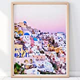 N / A Santorini Imprimir Santorini Grecia Paisaje Acuarela Decoración para el hogar Regalo del Viajero Lienzo Cartel Decoración de la Imagen de la Pared 30x40 cm Sin Marco