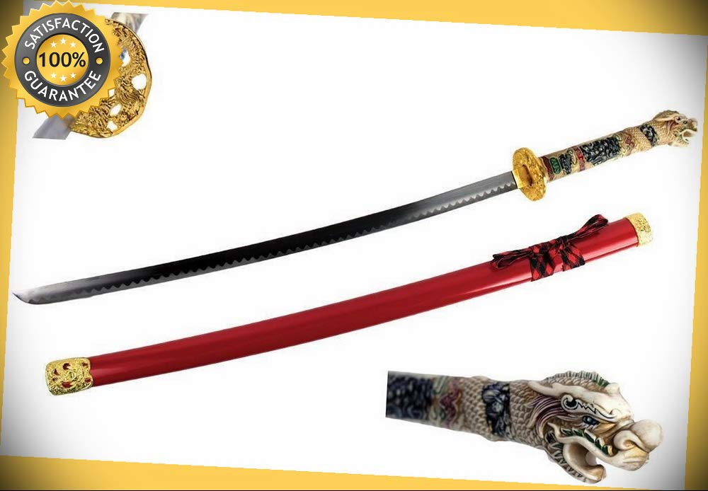"One Piece Sparkfoam 39/"" Foam Samurai Sword Black//white Handle w// Scab US SELLER"
