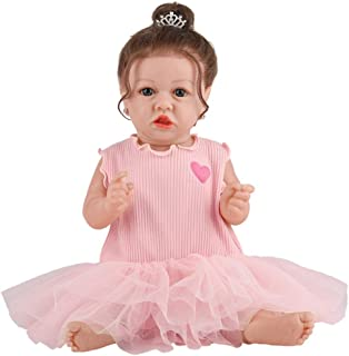 Reborn Toddler Dolls Silicon Baby Doll 23 Inches 58cm Princesses Girl Waterproof with Dress Eyes Open for Birthday Xmas Gi...