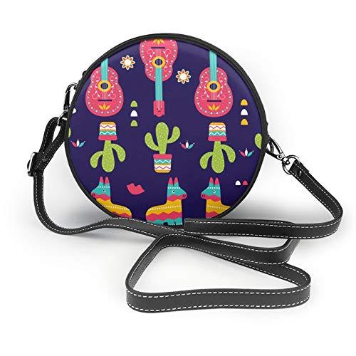 Flamingo-Damen-Geldbörse, rund, weiches Leder, Kreis-Design, modische Tragetasche, Rot - Ethnische Symbole Kaktus Alpaka Gitarre - Größe: Einheitsgröße