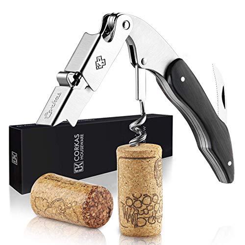 CORKAS multifunktionaler Korkenzieher, Kellnermesser mit Rosenholzgriff & schönes Design für Weinliebhaber, (5.5 * 1.5 * 0.7 Zoll/10.5 Unzen)