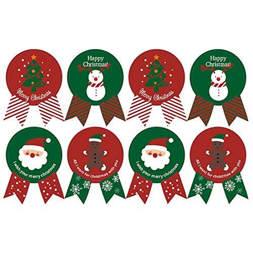 クリスマス シール ギフトシール ギフトステッカー ステッカー ラッピングラベル プレゼント 用 サンタ トナカイ 雪だるま 人形 装飾 飾り ( 8枚 X 10シート 80枚)