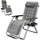ATORPOK Zero Gravity Chair Lounge Recliners with Cushion,Anti Gravity Chair for Adults Folding Lawn Patio with Cup Holder Beach Chair