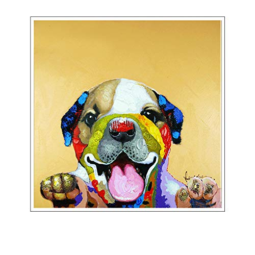WSNDGWS Moderne muur Leuke hond olieverfschilderij hoofd portretdecoratie geen fotolijst 30x30cm A2