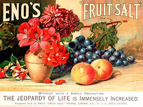 Yilooom Metallschild Eno's Fruchtsalz, Vintage, Shabby-Chic-Stil, 30,5 x 45,7 cm