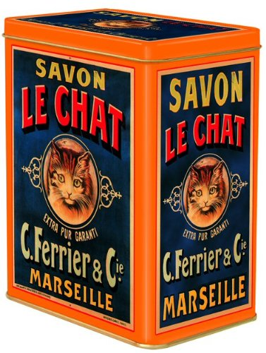 FRANSE VINTAGE DECORATIEVE METALE BOX 12x8x15cm RETRO AD LE CHAT zeep MARSEILLE