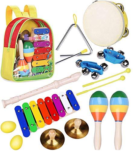 Kinder Musikinstrumenten Spielzeug Set - Smarkids Schlaginstrument Musikalisches Spielzeug für Kinder Vorschulunterricht Pädagogisches Spielzeug für Mädchen und Jungen mit kleinkind rucksack