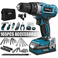Orfeld Cordless Drill Driver Kit with 20V Lithium Battery