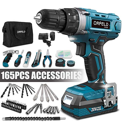 ORFELD Cordless Drill Driver Kit with 20V Lithium Battery Power Drill Set for Home Improvement and DIY Japanese Motor and 165pcs Accessories