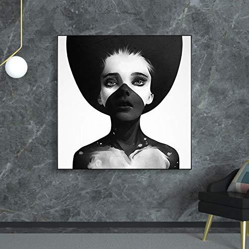 Pintura artstica en lienzo Mujeres con sombrero en blanco y negro Carteles Impresiones Arte de la pared Imgenes Disfraz Sombrero para la sala de estar Decoracin del hogar -50x50cm Sin marco