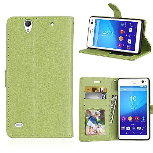 Fatcatparadise Kompatibel mit Sony Xperia C4 Hülle + Bildschirmschutz, Flip Wallet Hülle mit Kartenhalter & Magnetverschluss Halterung PU Leder Hülle handyhülle (Grün)