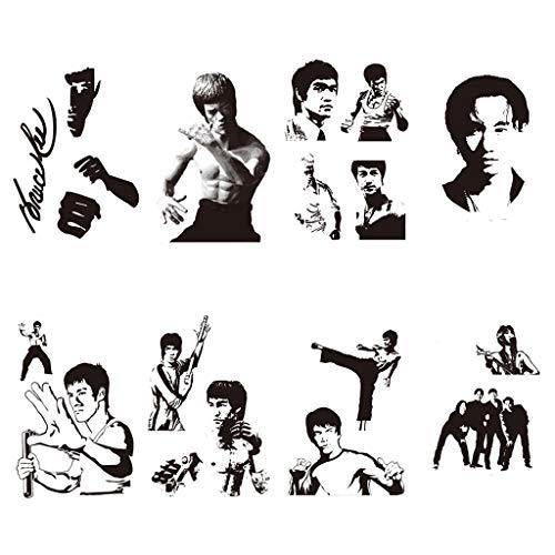 CARGEN 8 Sheets Bruce Lee Temporary Tattoo Black Tattoos Tatuajes Temporales Men Body Art Stickers Realistic Fake Tattoos