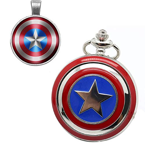 Marvel Avengers Captain America Shield Taschenuhr für Jungen Geschenkset Coole 3D Captain America Shield Taschenuhren für Herren mit Ketten