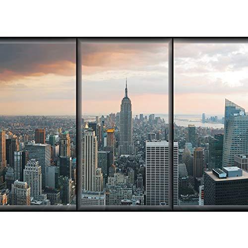 Vlies Fototapete PREMIUM PLUS Wand Foto Tapete Wand Bild Vliestapete - Skyline New York Fenster Ausblick Tower Wolken Fluss Häuser - no. 1929, Größe:312x219cm Vlies