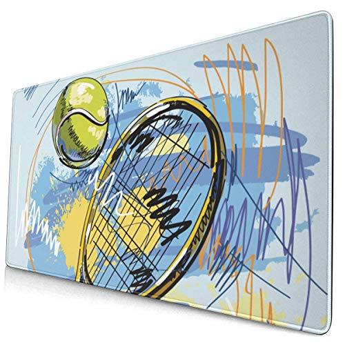 Alfombrilla para ratón para Juegos Raqueta de Tenis Alfombrilla para ratón extendida para Juegos con Bordes cosidos Alfombrilla para ratón Larga (29,5 x 15,7 Pulgadas) Alfombrilla para Escritorio Alf
